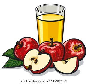 illustration of fresh glass apple juice with ripe apples