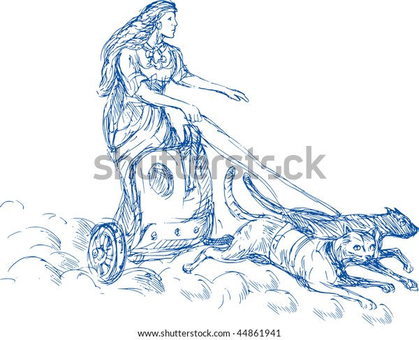 Illustration Freya Norse Goddess Love Beauty Stock