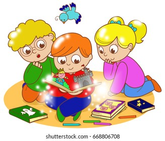 illustration of friends reading a magic pop-up book together.