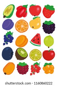 Illustration of fruit and berries without background