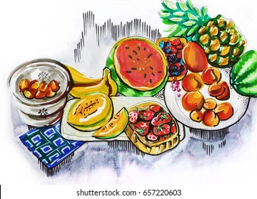 illustration of fruit party table