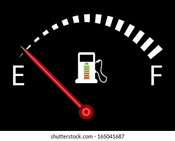Illustration of fuel gauge on black background with battery. Abstract fuel gauge with red indicator, indicating near empty. Isolated, easy to edit illustration. Vector image available in my portfolio.