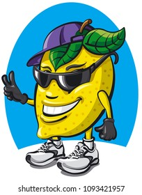 illustration of fun lemon character cartoon image