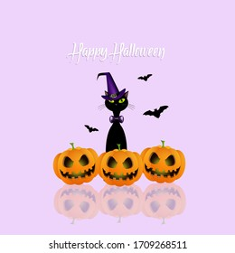 an illustration of funny black cat with pumpkins at Halloween