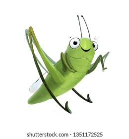 Illustration of a funny cartoon grasshopper on a white background