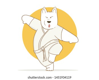 illustration funny of Cartoon Karate Dog ready to fight on a white background