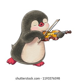 Illustration with funny cartoon penguin with a violin  isolated on a white background. Drawing in watercolor and ink.