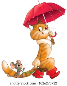 Illustration. Funny cartoon. Red cat in boots under an umbrella and a mouse on a leash.