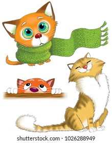 Illustration. Funny cartoon. A set of cats. A sad kitten in a scarf. Fluffy cat. The cat is looking.
