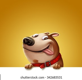 Illustration of a funny Dog. Happy friend