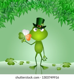 An illustration of funny frog with clover in S. Patrick day