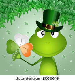 An illustration of funny frog with clover in Saint Patrick day