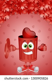illustration of funny garbage with hearts
