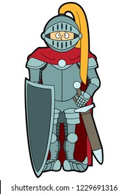 Illustration funny medieval knight with a shield and a sword