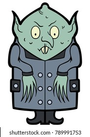 Illustration funny nosferatu vampire in a flat cartoon style