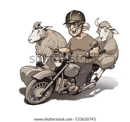 funny old motorcycle pictures  Illustration Funny Old Woman Driving Motorcycle Stock Illustration ...