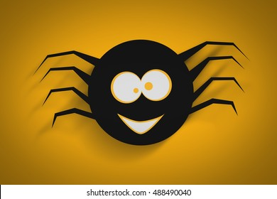Illustration Of Funny Spider Poster, Background Or Banner For Halloween Party Night.