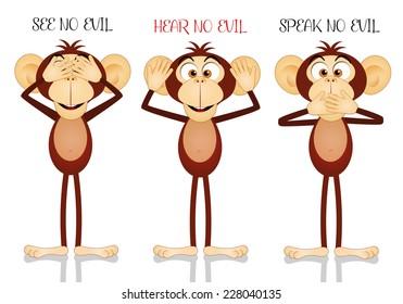Illustration of funny three wise monkeys