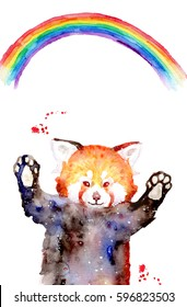 Illustration of a funny watercolor red panda ans rainbow