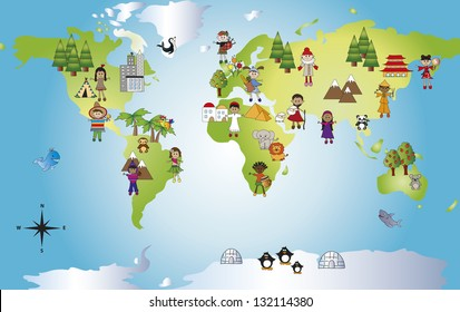 illustration of funny world with different people