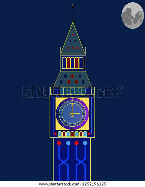 Big Ben at Night Clip Art