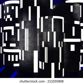 Illustration of Futuristic Buildings or Technical Background