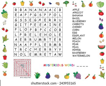 illustration with game for children : crossword