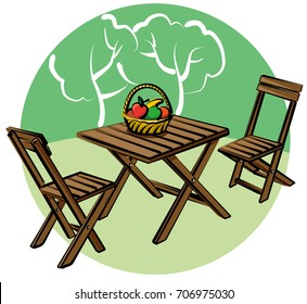 illustration of garden furniture on lawn