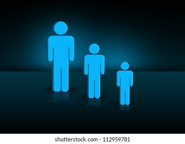 Illustration of generation with three different sized people