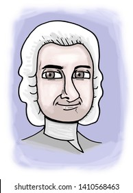 Illustration of Genevan writer Jean-Jacques Rousseau.