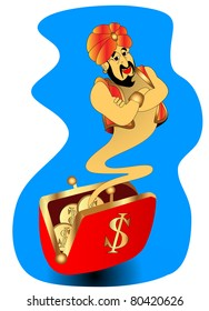 the illustration genie appears from wallet with gold(en) dollar.