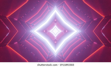 An illustration of the geometrical and colorful neon lights