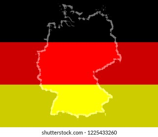 Illustration of a German flag with a contour of borders