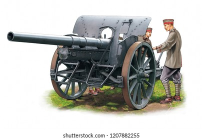Illustration of a German WW1 Artillery gun with crew on white background