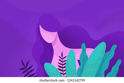 Illustration girl among the plants