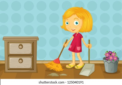 Illustration of a girl cleaning a room