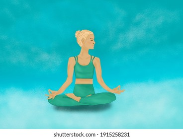 illustration of girl doing yoga, sport at home, healthy lifestyle