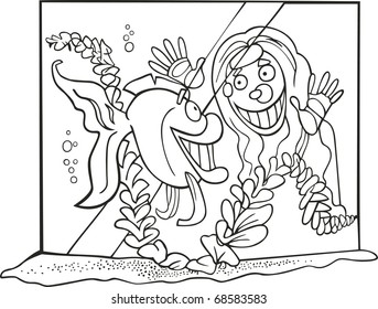 Illustration Of Girl And Fish In Tank For Coloring Book