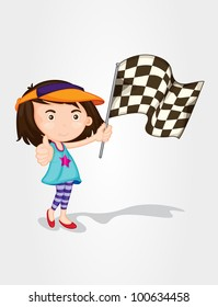 Illustration of a girl hold race flag - EPS VECTOR format also available in my portfolio.
