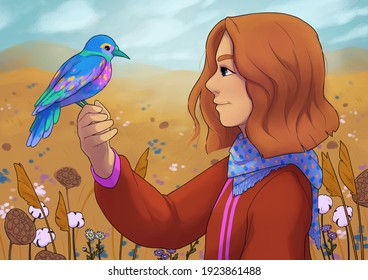 Illustration of a girl holding a blue bird on her hand