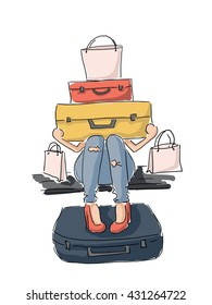 Illustration of a girl with a lot of luggage in anticipation of travel