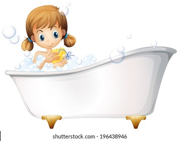 Illustration of a girl on the bathtub on a white background