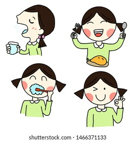 Illustration a girl on a white background in different positions. a girl is gargling, brush teeth, eat, O.K.