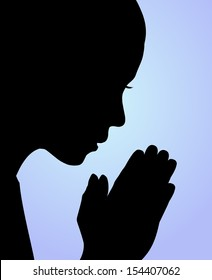 Illustration of a girl praying or meditating