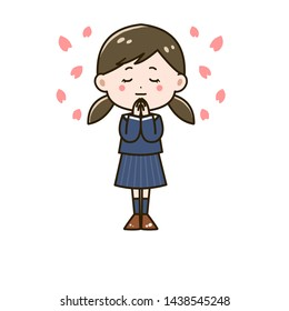 Illustration of a girl praying for a pass