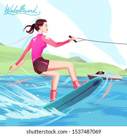 Illustration of Girl Wakeboard Sport