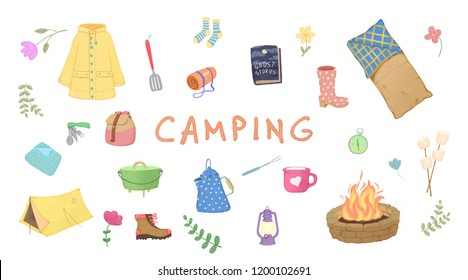 Illustration of glamping, camping, outdoor.
