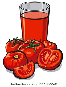illustration of glass fresh tomato juice with tomatoes