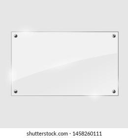 illustration of glass or plastic transparent panel on plaid background