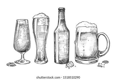illustration of glassware for alcohol drinks set. Foaming beer in different types of glasses like tulip, weizen, dimpled mug and in closed bottle. Vintage hand drawn style.